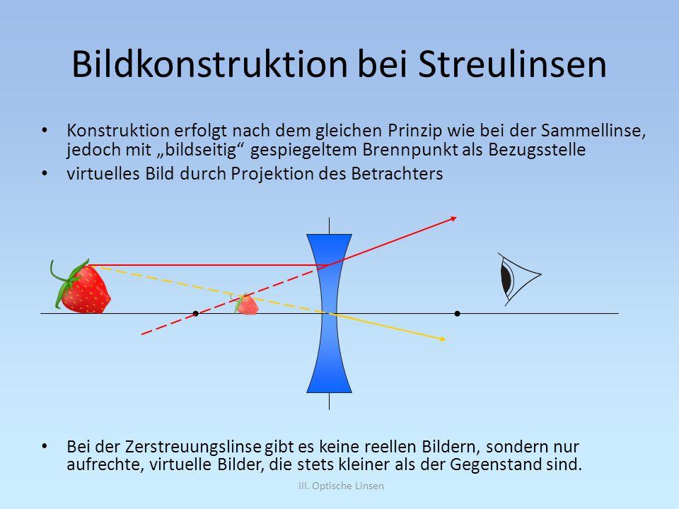 III. Optische Linsen Bildkonstruktion bei Streulinsen Konstruktion erfolgt nach dem gleichen Prinzip wie bei der Sammellinse, jedoch mit bildseitig ge