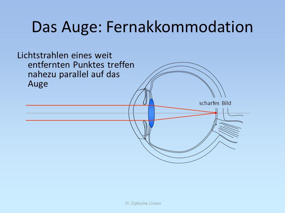 III. Optische Linsen Das Auge: Fernakkommodation Lichtstrahlen eines weit entfernten Punktes treffen nahezu parallel auf das Auge scharfes Bild