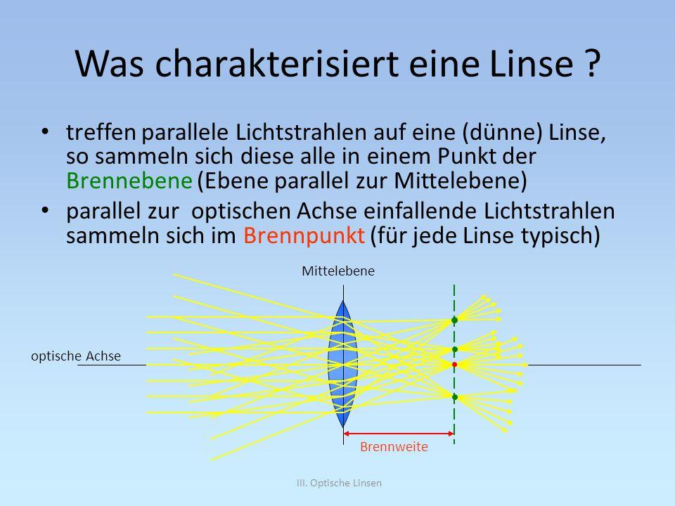 III. Optische Linsen Was charakterisiert eine Linse ? treffen parallele Lichtstrahlen auf eine (dünne) Linse, so sammeln sich diese alle in einem Punk