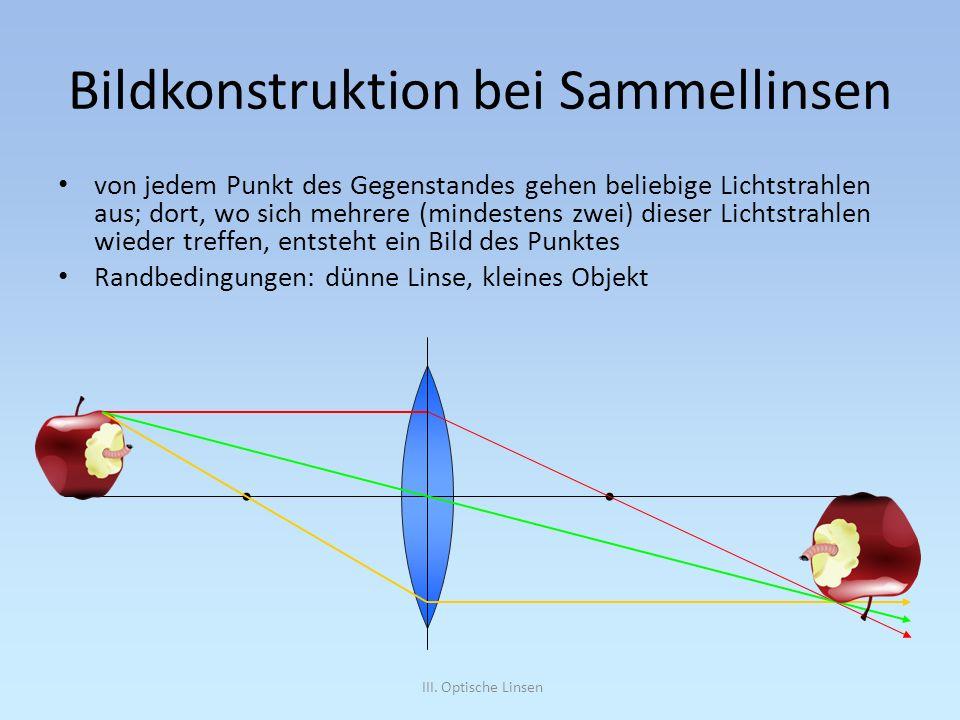 III. Optische Linsen Bildkonstruktion bei Sammellinsen von jedem Punkt des Gegenstandes gehen beliebige Lichtstrahlen aus; dort, wo sich mehrere (mind