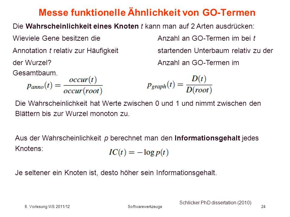8. Vorlesung WS 2011/12Softwarewerkzeuge24 Messe funktionelle Ähnlichkeit von GO-Termen Schlicker PhD dissertation (2010) Die Wahrscheinlichkeit hat W
