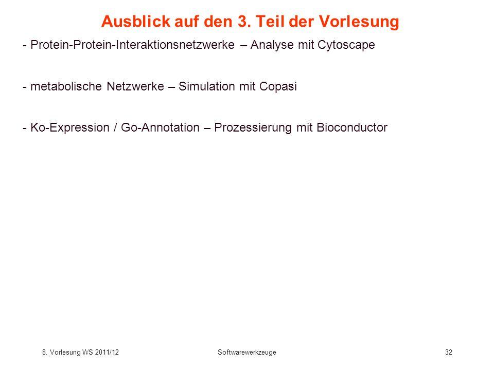 8. Vorlesung WS 2011/12Softwarewerkzeuge32 Ausblick auf den 3. Teil der Vorlesung - Protein-Protein-Interaktionsnetzwerke – Analyse mit Cytoscape - me