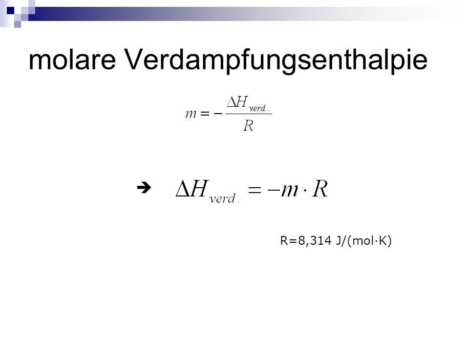 molare Verdampfungsenthalpie R=8,314 J/(molK)