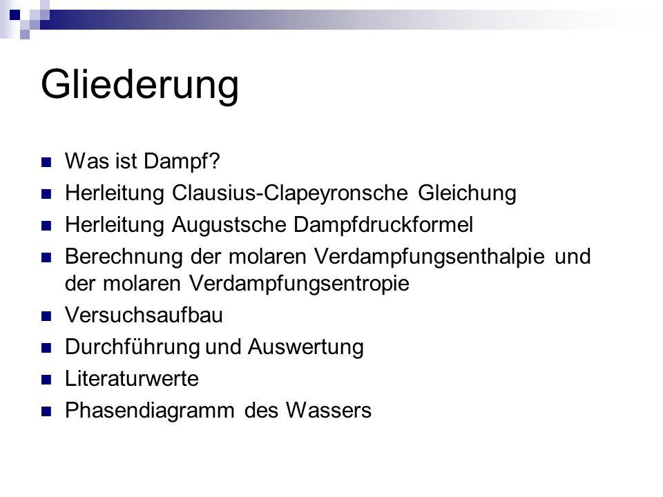 Gliederung Was ist Dampf? Herleitung Clausius-Clapeyronsche Gleichung Herleitung Augustsche Dampfdruckformel Berechnung der molaren Verdampfungsenthal