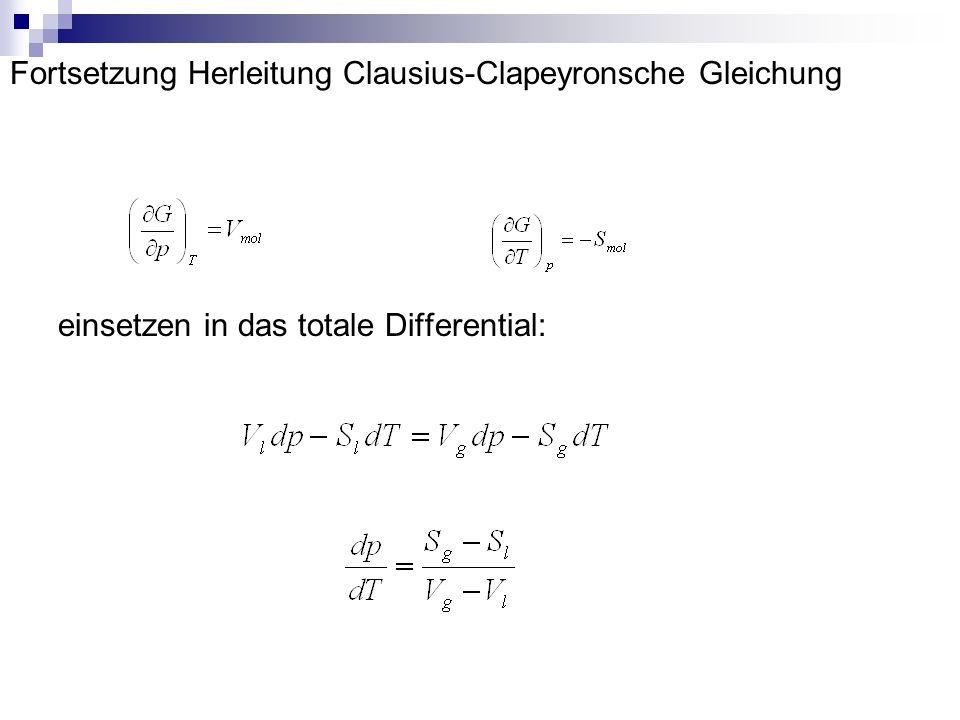 Fortsetzung Herleitung Clausius-Clapeyronsche Gleichung einsetzen in das totale Differential: