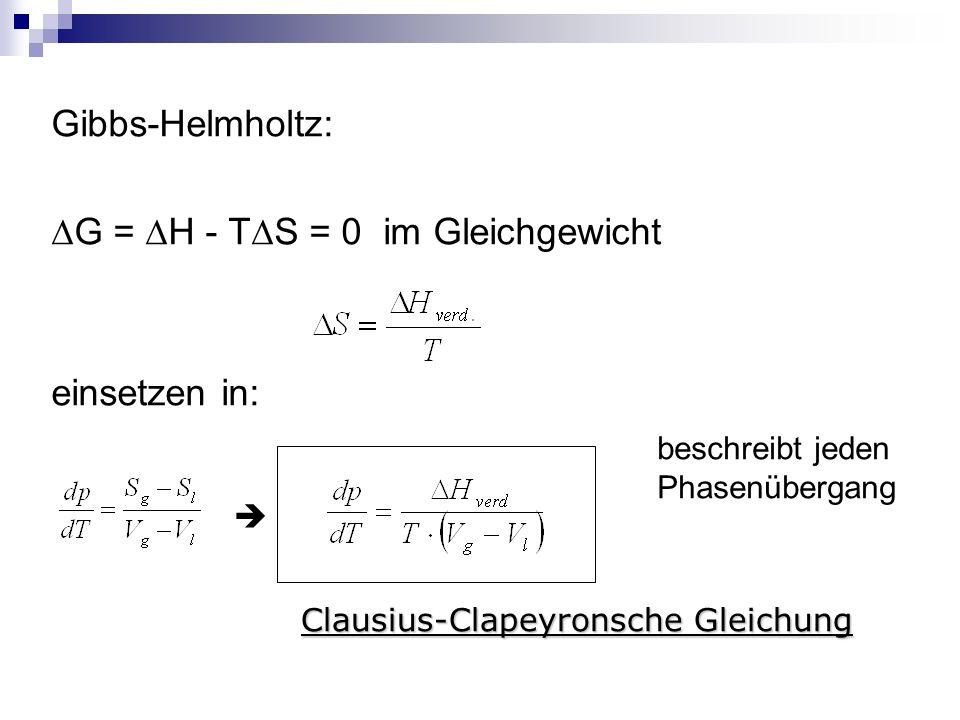 Gibbs-Helmholtz: G = H - TS = 0 im Gleichgewicht einsetzen in: Clausius-Clapeyronsche Gleichung beschreibt jeden Phasenübergang