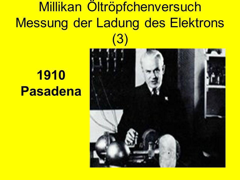 Millikan Öltröpfchenversuch Messung der Ladung des Elektrons (3) 1910 Pasadena