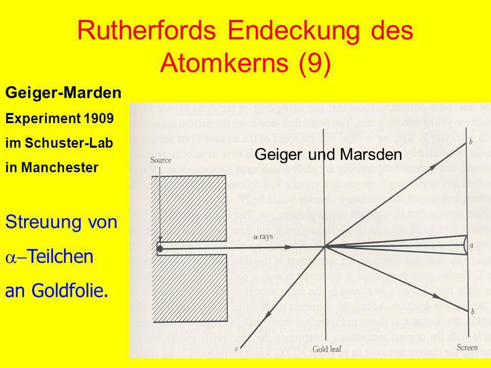 Rutherfords Endeckung des Atomkerns (9) Geiger-Marden Experiment 1909 im Schuster-Lab in Manchester Streuung von Teilchen an Goldfolie. Geiger und Mar