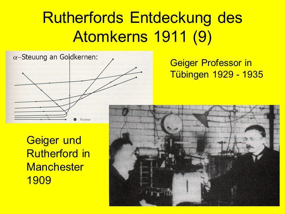 Rutherfords Entdeckung des Atomkerns 1911 (9) Geiger und Rutherford in Manchester 1909 Geiger Professor in Tübingen 1929 - 1935 Steuung an Goldkernen: