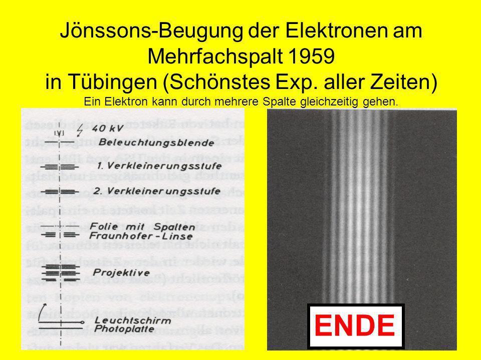Jönssons-Beugung der Elektronen am Mehrfachspalt 1959 in Tübingen (Schönstes Exp. aller Zeiten) Ein Elektron kann durch mehrere Spalte gleichzeitig ge
