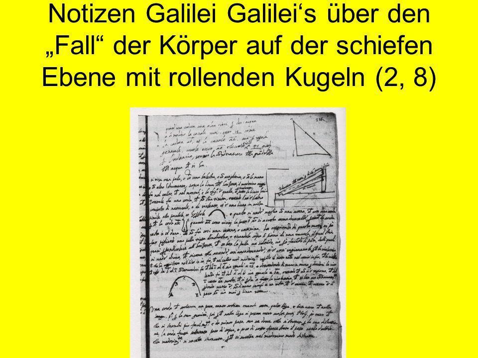 Notizen Galilei Galileis über den Fall der Körper auf der schiefen Ebene mit rollenden Kugeln (2, 8)