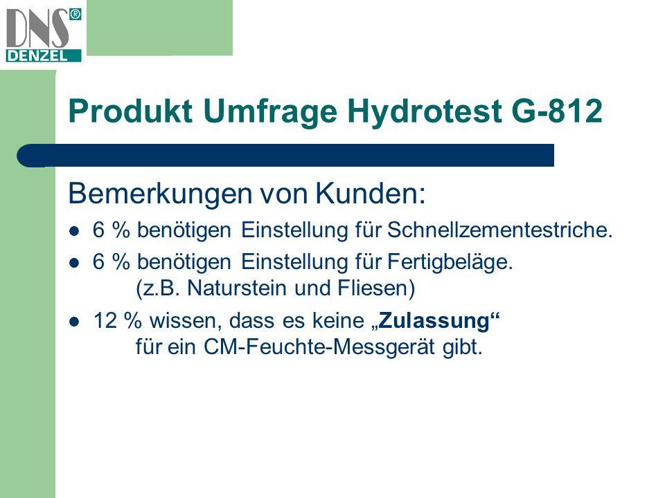 Produkt Umfrage Hydrotest G-812 Bemerkungen von Kunden: 6 % benötigen Einstellung für Schnellzementestriche. 6 % benötigen Einstellung für Fertigbeläg