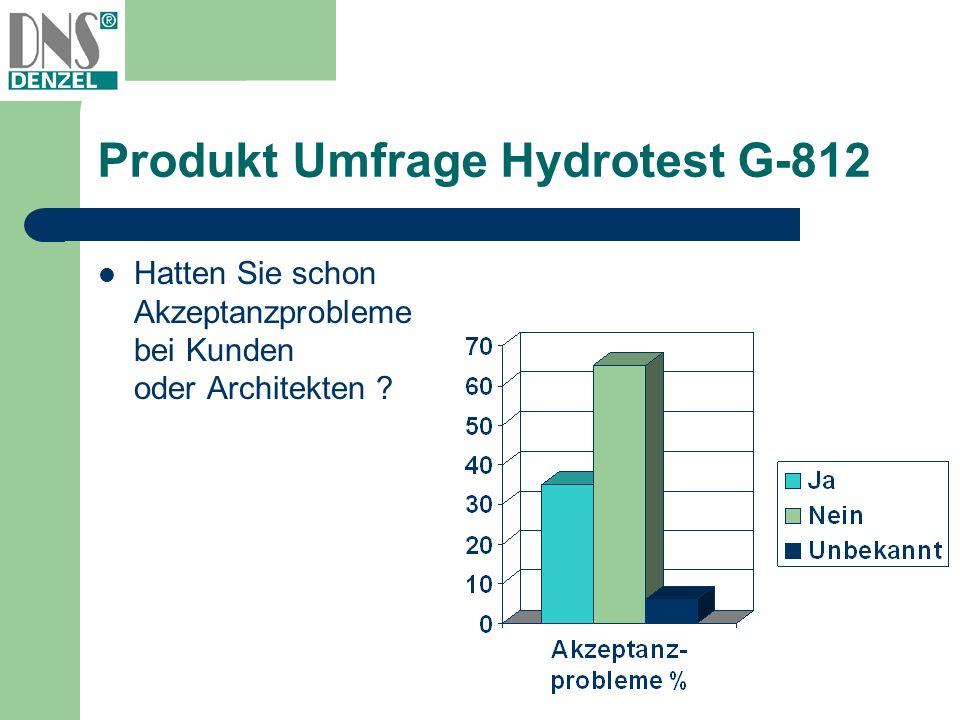 Produkt Umfrage Hydrotest G-812 Hatten Sie schon Akzeptanzprobleme bei Kunden oder Architekten ?
