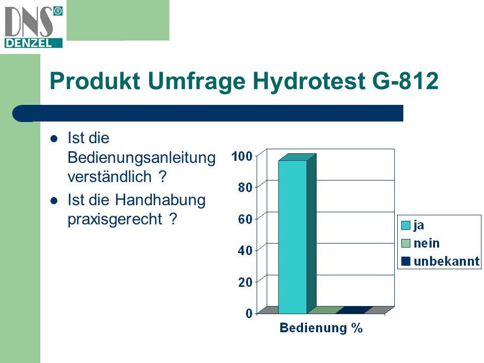 Produkt Umfrage Hydrotest G-812 Ist die Bedienungsanleitung verständlich ? Ist die Handhabung praxisgerecht ?