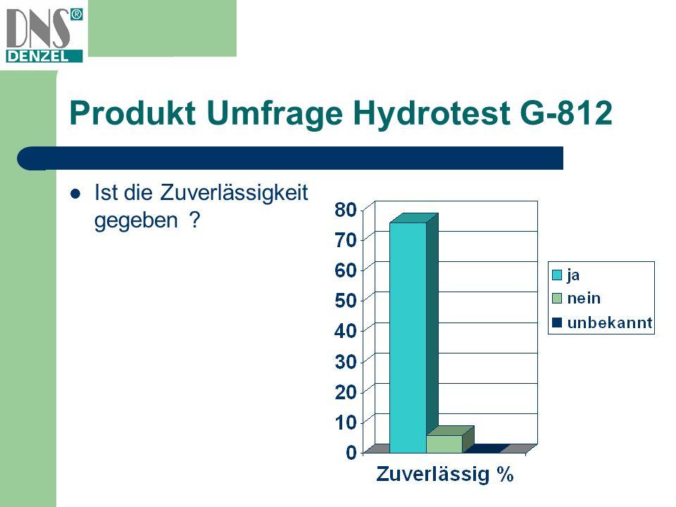 Produkt Umfrage Hydrotest G-812 Ist die Zuverlässigkeit gegeben ?