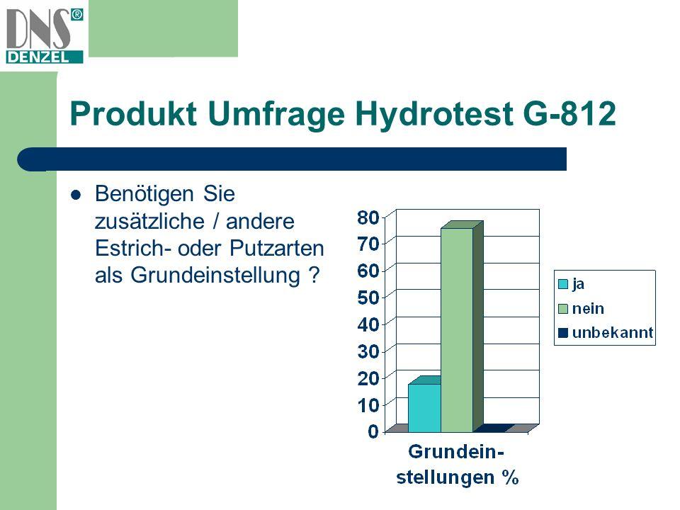 Produkt Umfrage Hydrotest G-812 Benötigen Sie zusätzliche / andere Estrich- oder Putzarten als Grundeinstellung ?