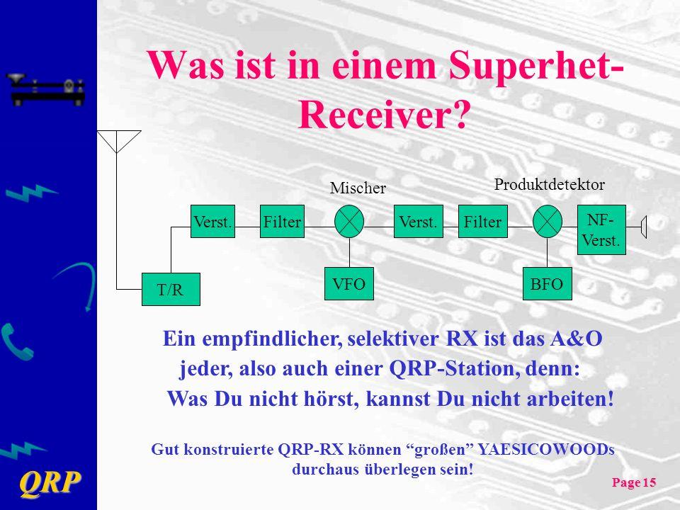 QRP Page 15 Was ist in einem Superhet- Receiver? FilterVerst.FilterVerst. T/R VFO Mischer Produktdetektor BFO NF- Verst. Ein empfindlicher, selektiver