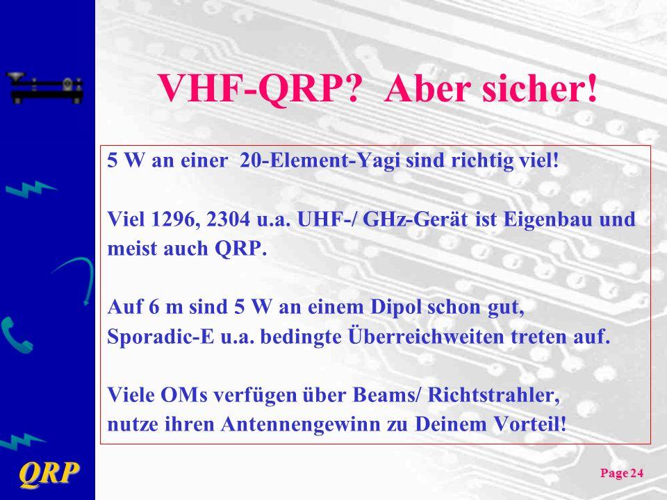 QRP Page 24 VHF-QRP? Aber sicher! 5 W an einer 20-Element-Yagi sind richtig viel! Viel 1296, 2304 u.a. UHF-/ GHz-Gerät ist Eigenbau und meist auch QRP
