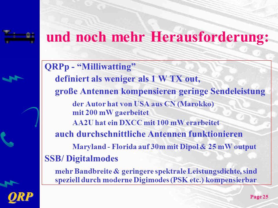 QRP Page 25 und noch mehr Herausforderung: QRPp - Milliwatting definiert als weniger als 1 W TX out, große Antennen kompensieren geringe Sendeleistung