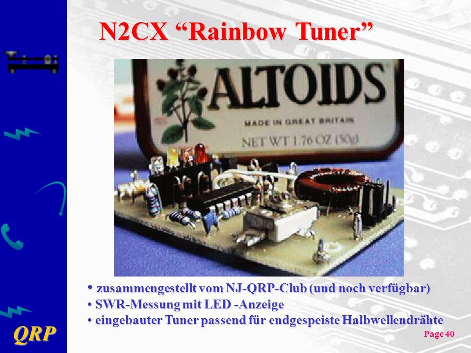 QRP Page 40 N2CX Rainbow Tuner zusammengestellt vom NJ-QRP-Club (und noch verfügbar) zusammengestellt vom NJ-QRP-Club (und noch verfügbar) SWR-Messung mit LED -Anzeige SWR-Messung mit LED -Anzeige eingebauter Tuner passend für endgespeiste Halbwellendrähte eingebauter Tuner passend für endgespeiste Halbwellendrähte