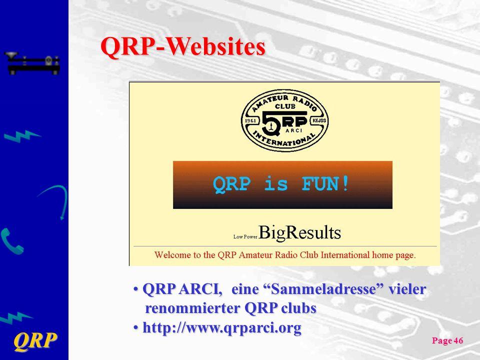 QRP Page 46 QRP-Websites QRP ARCI, eine Sammeladresse vieler renommierter QRP clubs QRP ARCI, eine Sammeladresse vieler renommierter QRP clubs http://www.qrparci.org http://www.qrparci.org