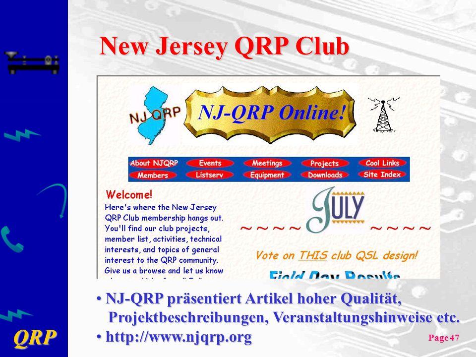 QRP Page 47 New Jersey QRP Club NJ-QRP präsentiert Artikel hoher Qualität, NJ-QRP präsentiert Artikel hoher Qualität, Projektbeschreibungen, Veranstal