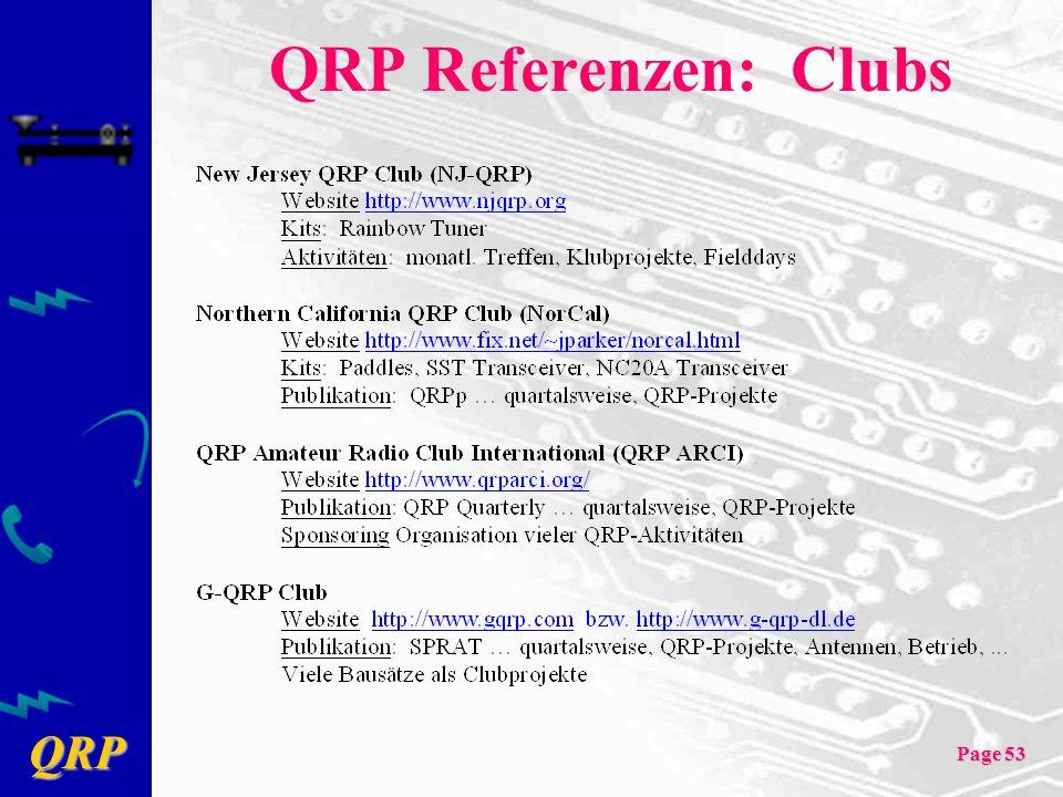 QRP Page 53 QRP Referenzen: Clubs