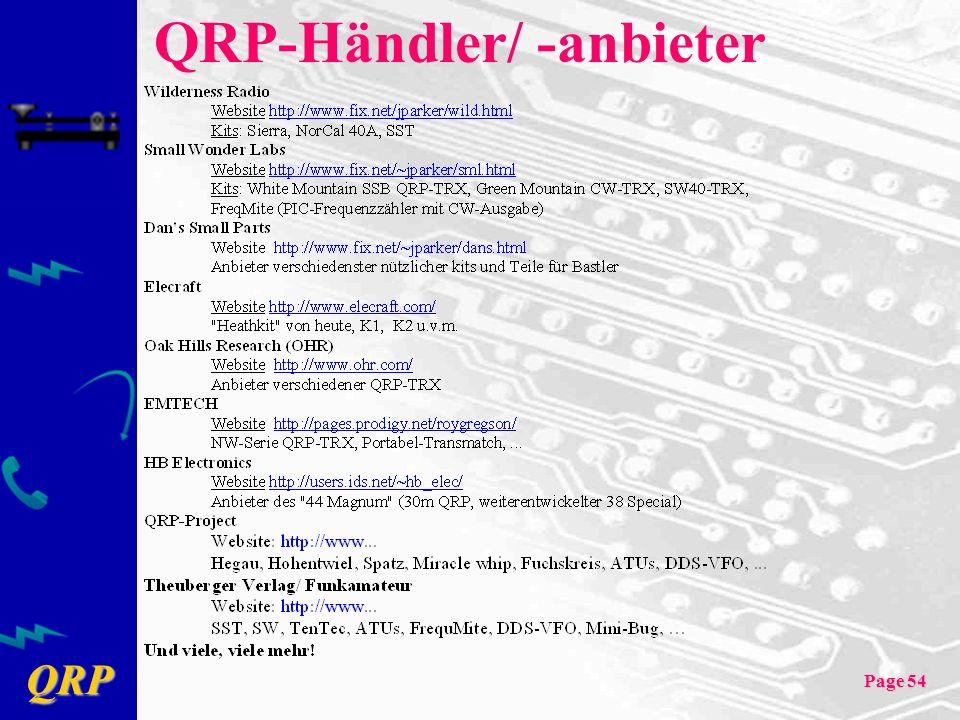 QRP Page 54 QRP-Händler/ -anbieter