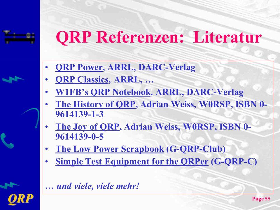 QRP Page 55 QRP Referenzen: Literatur QRP Power, ARRL, DARC-Verlag QRP Classics, ARRL, … W1FBs QRP Notebook, ARRL, DARC-Verlag The History of QRP, Adrian Weiss, W0RSP, ISBN 0- 9614139-1-3 The Joy of QRP, Adrian Weiss, W0RSP, ISBN 0- 9614139-0-5 The Low Power Scrapbook (G-QRP-Club) Simple Test Equipment for the QRPer (G-QRP-C) … und viele, viele mehr!