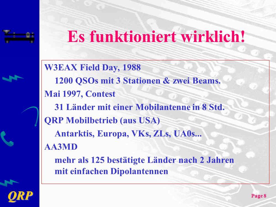 QRP Page 8 Es funktioniert wirklich! W3EAX Field Day, 1988 1200 QSOs mit 3 Stationen & zwei Beams. Mai 1997, Contest 31 Länder mit einer Mobilantenne