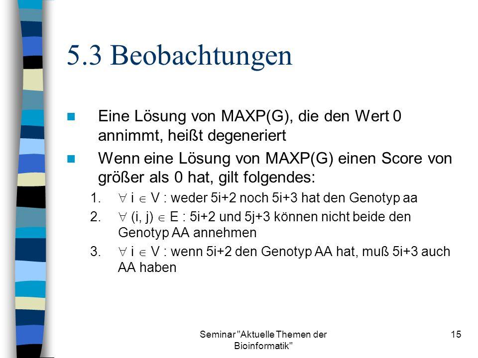 Seminar Aktuelle Themen der Bioinformatik 15 5.3 Beobachtungen Eine Lösung von MAXP(G), die den Wert 0 annimmt, heißt degeneriert Wenn eine Lösung von MAXP(G) einen Score von größer als 0 hat, gilt folgendes: 1.