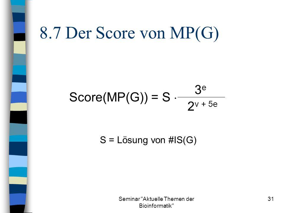 Seminar Aktuelle Themen der Bioinformatik 31 8.7 Der Score von MP(G) Score(MP(G)) = S 3e3e 2 v + 5e S = Lösung von #IS(G)