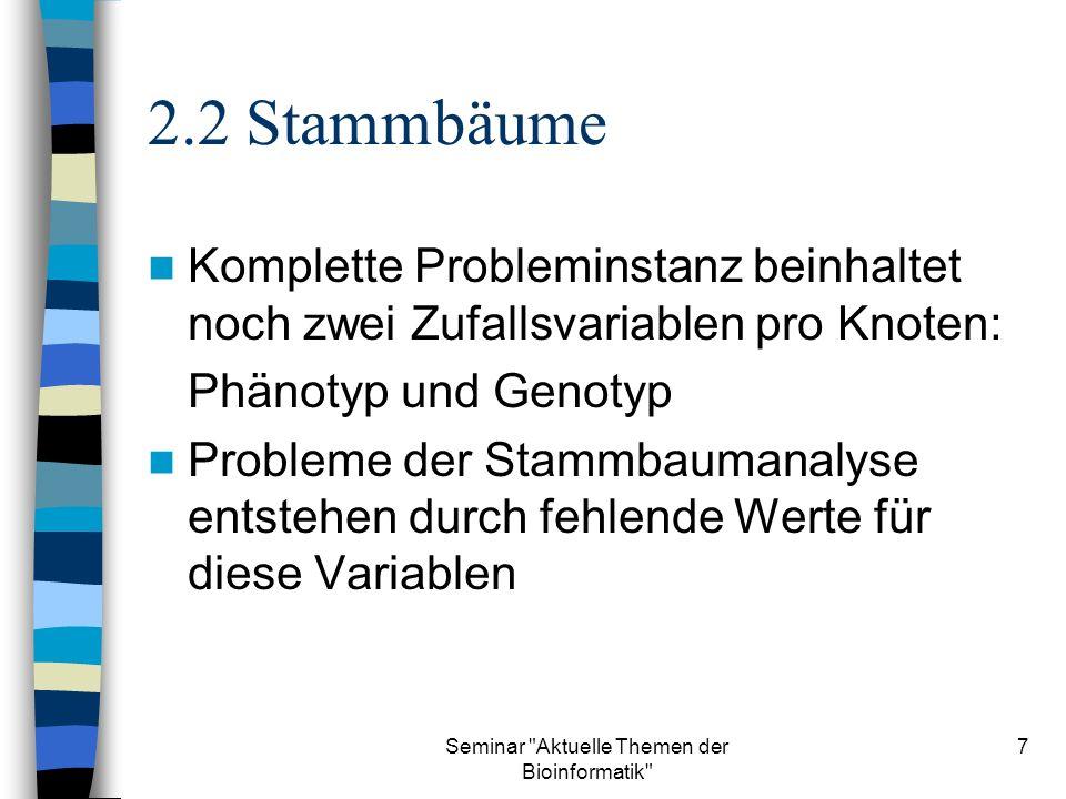 Seminar Aktuelle Themen der Bioinformatik 8 2.3 Stammbäume Verteilung der Zufallsvariablen: –P(g i ) Wahrscheinlichkeitsverteilung des Genotyps von Gründer i –P(g i |g v(i),g m(i) ) Wahrscheinlichkeitsverteilung des Genotyps von Nichtgründer i –P(y i |g i ) Wahrscheinlichkeitsverteilung des Phänotyps von Individuum i P(g i |g v(i),g m(i) ) muß genetische Realität wiederspiegeln, wird daher oft durch einfache Regeln der Mendelgenetik beschrieben