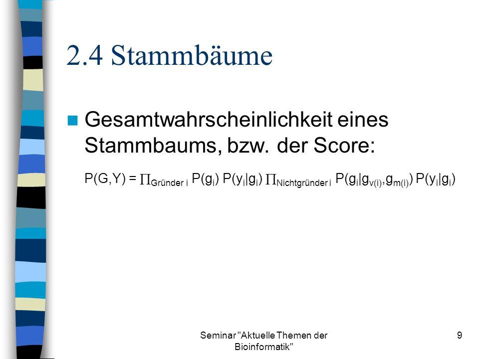 Seminar Aktuelle Themen der Bioinformatik 9 2.4 Stammbäume Gesamtwahrscheinlichkeit eines Stammbaums, bzw.