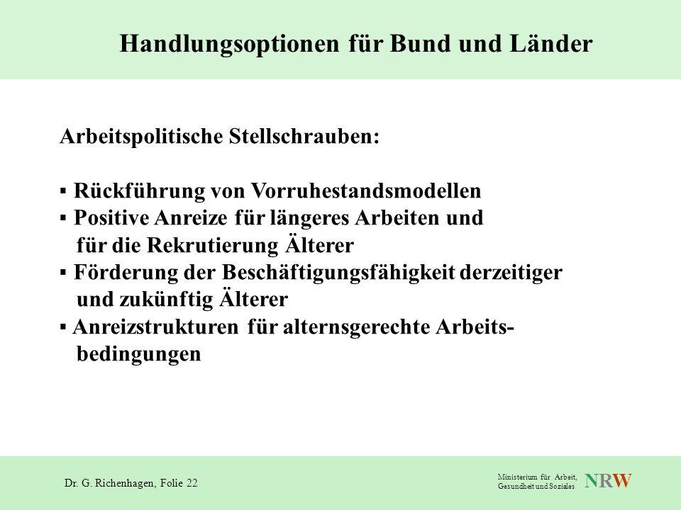 Dr. G. Richenhagen, Folie 22 NRWNRW Ministerium für Arbeit, Gesundheit und Soziales Arbeitspolitische Stellschrauben: Rückführung von Vorruhestandsmod