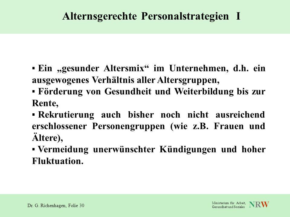 Dr. G. Richenhagen, Folie 30 NRWNRW Ministerium für Arbeit, Gesundheit und Soziales Ein gesunder Altersmix im Unternehmen, d.h. ein ausgewogenes Verhä