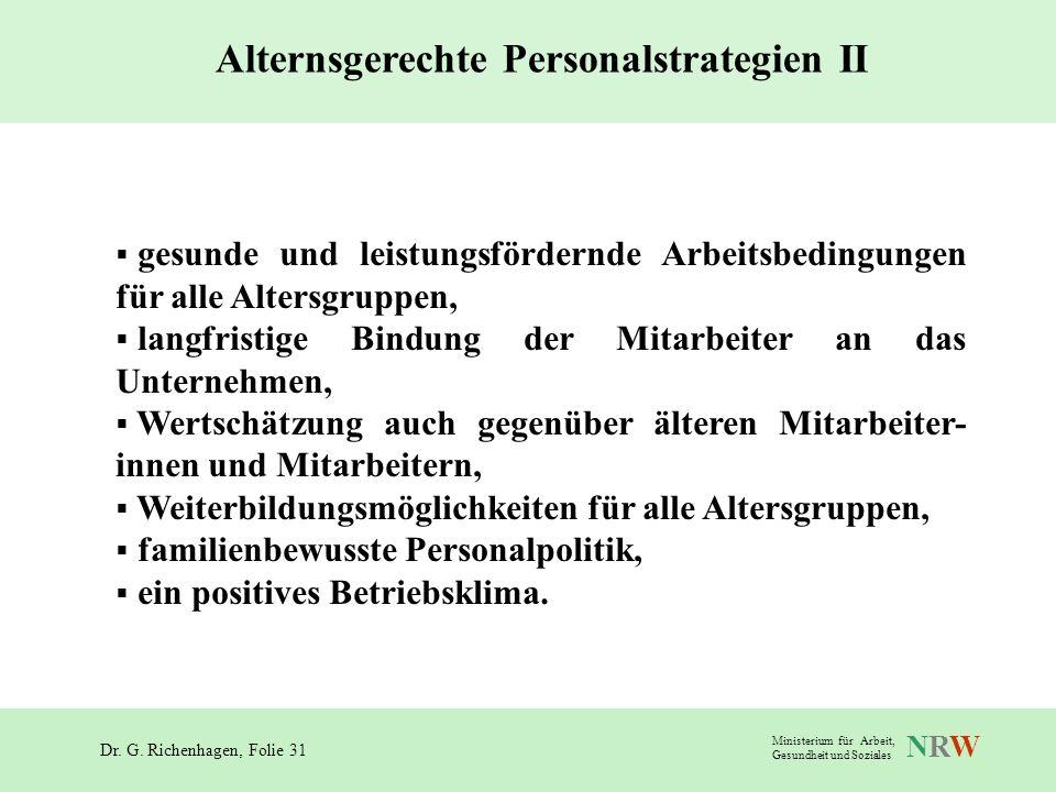 Dr. G. Richenhagen, Folie 31 NRWNRW Ministerium für Arbeit, Gesundheit und Soziales gesunde und leistungsfördernde Arbeitsbedingungen für alle Altersg