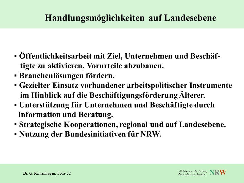 Dr. G. Richenhagen, Folie 32 NRWNRW Ministerium für Arbeit, Gesundheit und Soziales Handlungsmöglichkeiten auf Landesebene Öffentlichkeitsarbeit mit Z