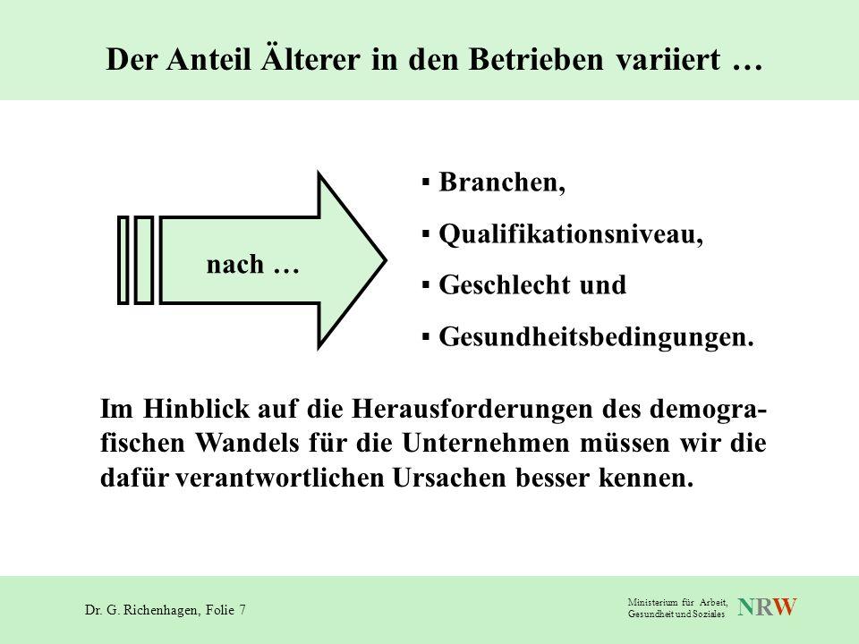 Dr. G. Richenhagen, Folie 7 NRWNRW Ministerium für Arbeit, Gesundheit und Soziales Branchen, Qualifikationsniveau, Geschlecht und Gesundheitsbedingung