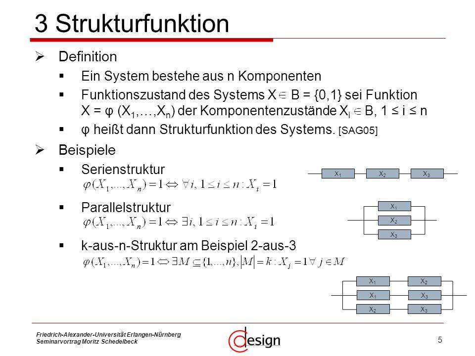 6 Friedrich-Alexander-Universität Erlangen-Nürnberg Seminarvortrag Moritz Schedelbeck Zuverlässigkeit (Reliability) R(t) Maß für die Fähigkeit des Systems, funktionstüchtig zu bleiben Wahrscheinlichkeit, dass das System während einer bestimmten Zeitdauer t nicht versagt.