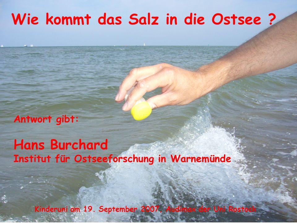 Wie kommt das Salz in die Ostsee ? Kinderuni am 19. September 2007, Audimax der Uni Rostock Antwort gibt: Hans Burchard Institut für Ostseeforschung i