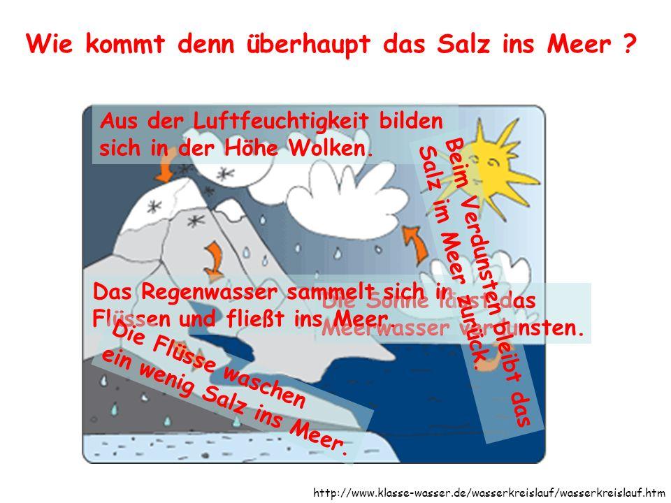 Wie kommt denn überhaupt das Salz ins Meer ? ? Die Sonne lässt das Meerwasser verdunsten. Aus der Luftfeuchtigkeit bilden sich in der Höhe Wolken. Das