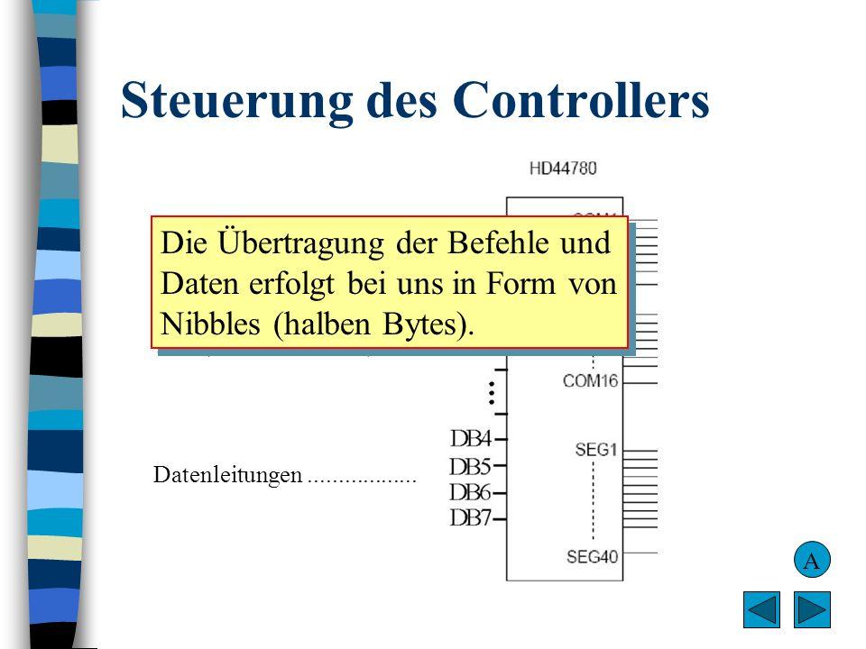 Bascom-Befehle I Konfigurieren des LCDs Bascom-BefehlBedeutung Config Lcd = 16*2LCDisplay mit 2 Zeilen à 16 Zeichen Config Lcdpin = Pin, Db4 = Portb.0, Db5 = Portb.1, Db6 = Portb.2, Db7 = Portb.3, E = Portb.4, RS = Portb.6 (Eine einzige Zeile!) Zuweisung der Pins von PortB zu den Eingängen des LCD- Controllers Beachten Sie: PortB.5 und PortB.7 bleiben frei für I 2 C-Anwendungen.