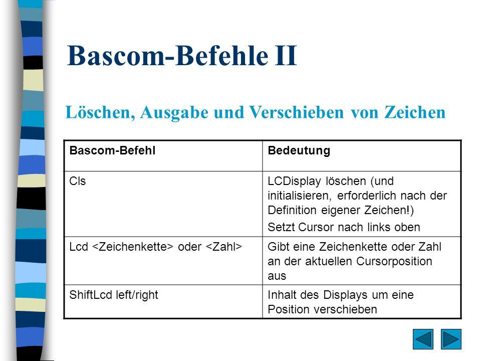 Bascom-Befehle III Cursor Bascom-BefehlBedeutung Cursor Off/On/NoblinkCursor aus-/ein-/nichtblinkend schalten Locate y, xCursor auf Position x in Zeile y setzen Lowerline/UpperlineSetzt Cursor in die untere/obere Zeile Home [upper/lower]Setzt Cursor auf die 1.