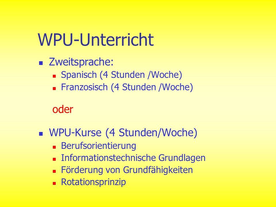 WPU-Unterricht Zweitsprache: Spanisch (4 Stunden /Woche) Franzosisch (4 Stunden /Woche) oder WPU-Kurse (4 Stunden/Woche) Berufsorientierung Informatio