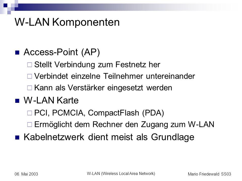 Mario Friedewald SS03 W-LAN (Wireless Local Area Network) 06. Mai 2003 W-LAN Komponenten Access-Point (AP) Stellt Verbindung zum Festnetz her Verbinde
