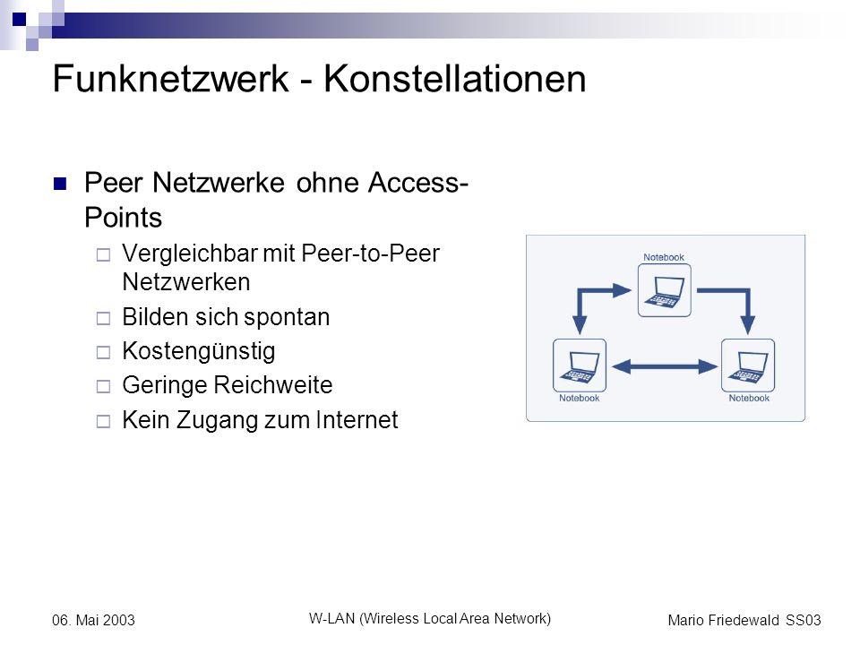 Mario Friedewald SS03 W-LAN (Wireless Local Area Network) 06. Mai 2003 Funknetzwerk - Konstellationen Peer Netzwerke ohne Access- Points Vergleichbar