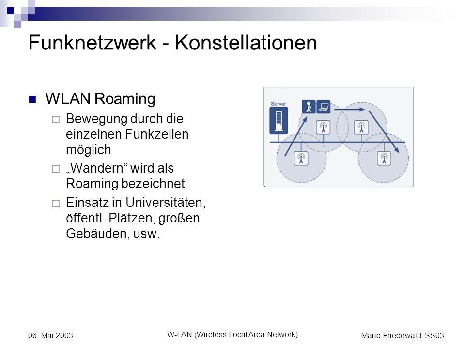 Mario Friedewald SS03 W-LAN (Wireless Local Area Network) 06. Mai 2003 Funknetzwerk - Konstellationen WLAN Roaming Bewegung durch die einzelnen Funkze