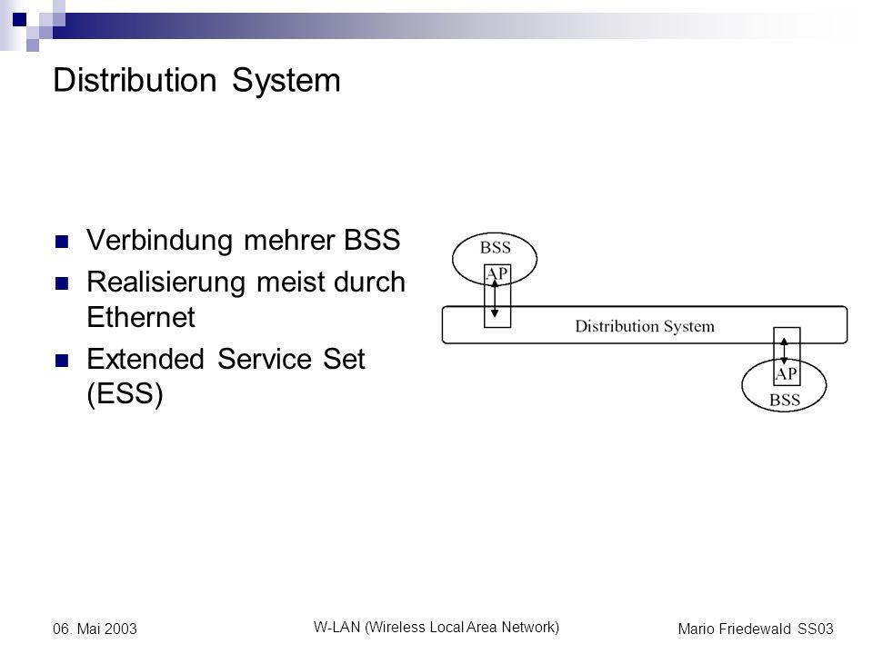 Mario Friedewald SS03 W-LAN (Wireless Local Area Network) 06. Mai 2003 Distribution System Verbindung mehrer BSS Realisierung meist durch Ethernet Ext