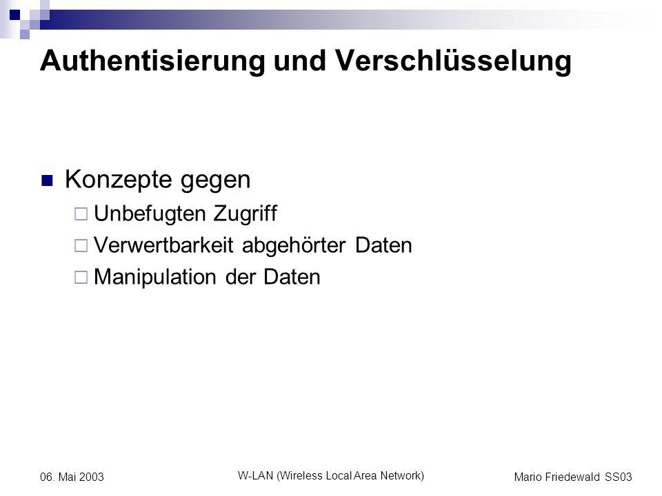 Mario Friedewald SS03 W-LAN (Wireless Local Area Network) 06. Mai 2003 Authentisierung und Verschlüsselung Konzepte gegen Unbefugten Zugriff Verwertba